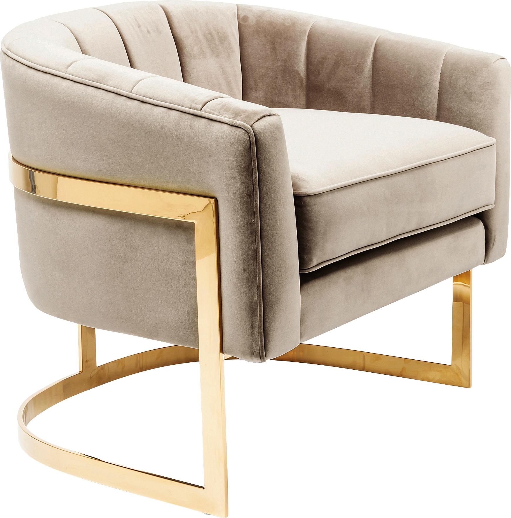 Samt-Loungesessel Pure Elegance in Greige, Bezug: Polyester (Samt), Gestell: Edelstahl, verchromt, Korpus: Kiefer, Massivholz, Samt Greige, B 77 x T 70 cm