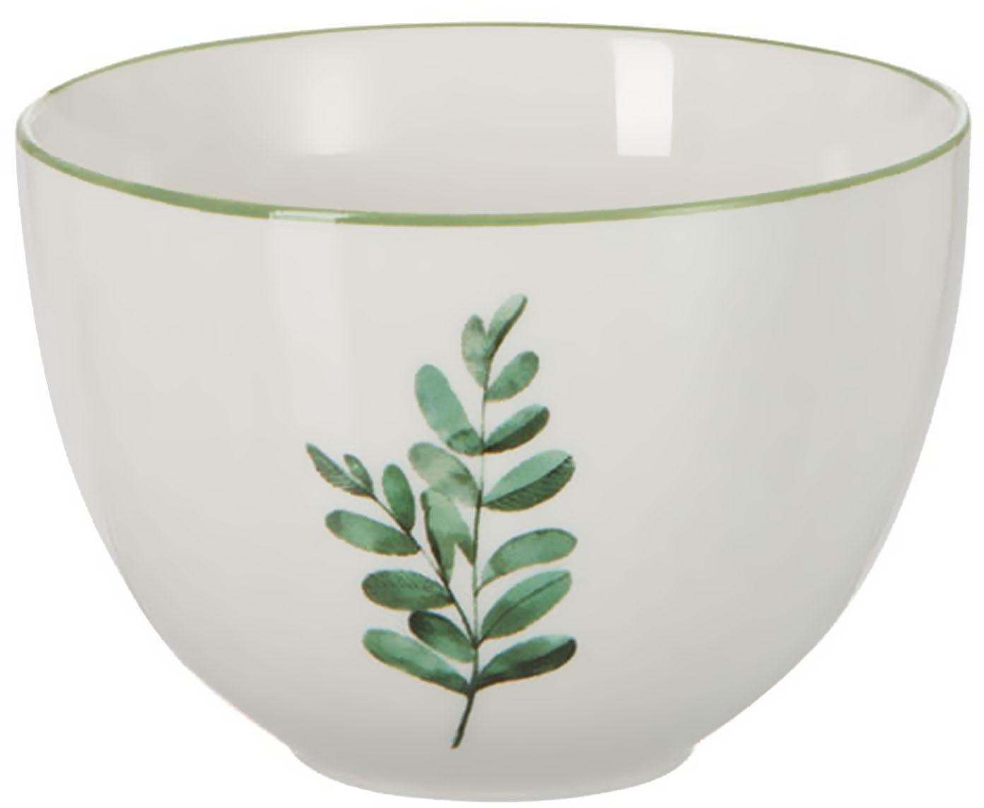 Miseczka Eukalyptus, 6 szt., Porcelana, Biały, zielony, Ø 12 cm