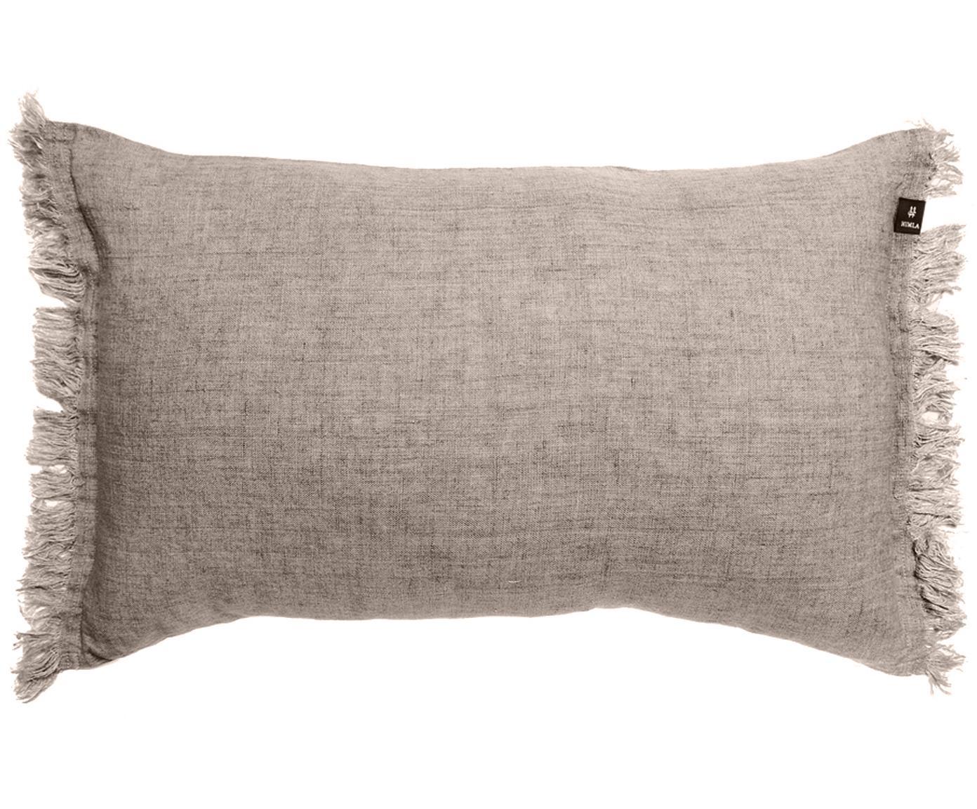 Cuscino in lino con frange Levelin, Beige, Larg. 40 x Lung. 60 cm