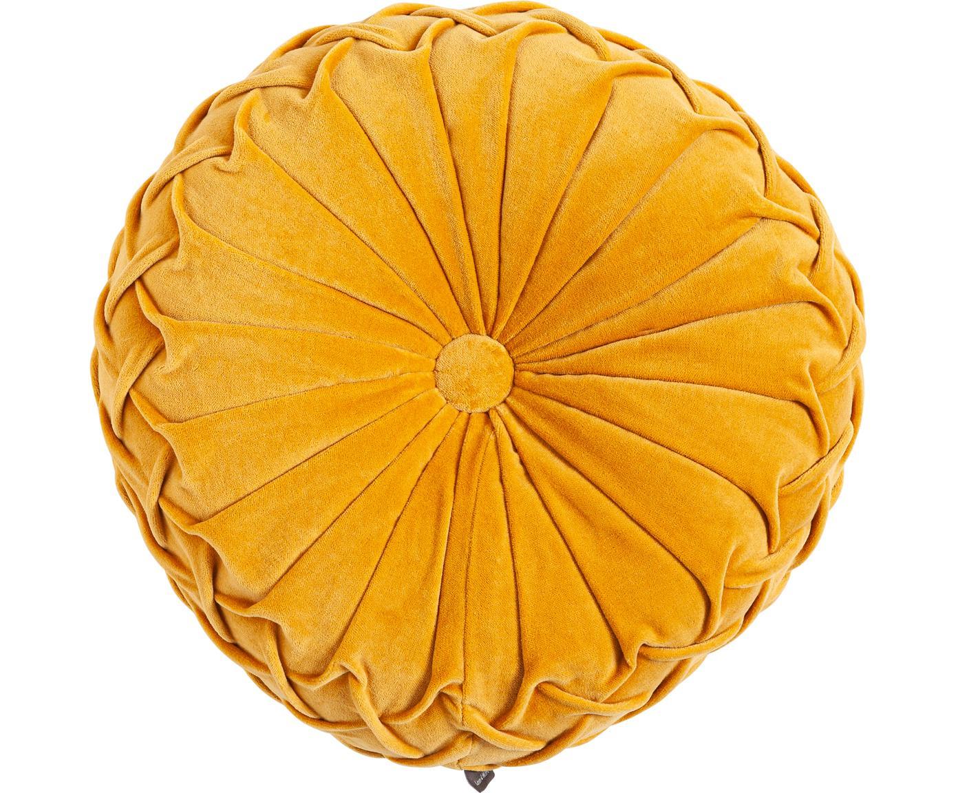 Rundes Samt-Kissen Kanan mit Raffungen, mit Inlett, 100% Baumwolle, Gelb, Ø 40 cm