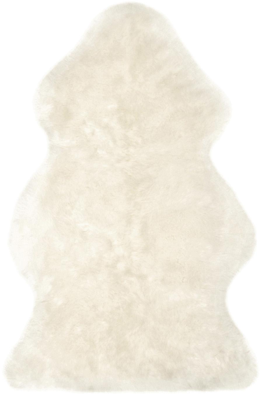 Piel de oveja Oslo, Parte delantera: 100%piel de oveja, Parte trasera: 100%cuero cuertido, Marfil, An 60 x L 90 cm