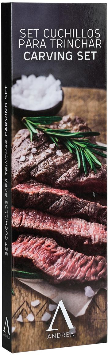 Silbernes Tranchier-Set Var aus Edelstahl mit Akazienholzgriff, 2-teilig, Griffe: Akazienholz, Akazienholz, Edelstahl, Sondergrößen