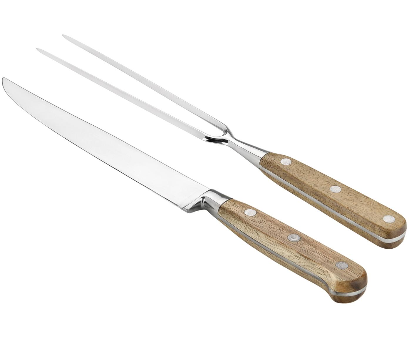 Komplet do krojenia mięsa Var, 2 elem., Drewno akacjowe, stal szlachetna , Różne rozmiary