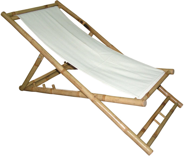 Składany leżak z drewna bambusowego Bammina, Drewno bambusowe, tkanina, Biały, S 60 x W 80 cm