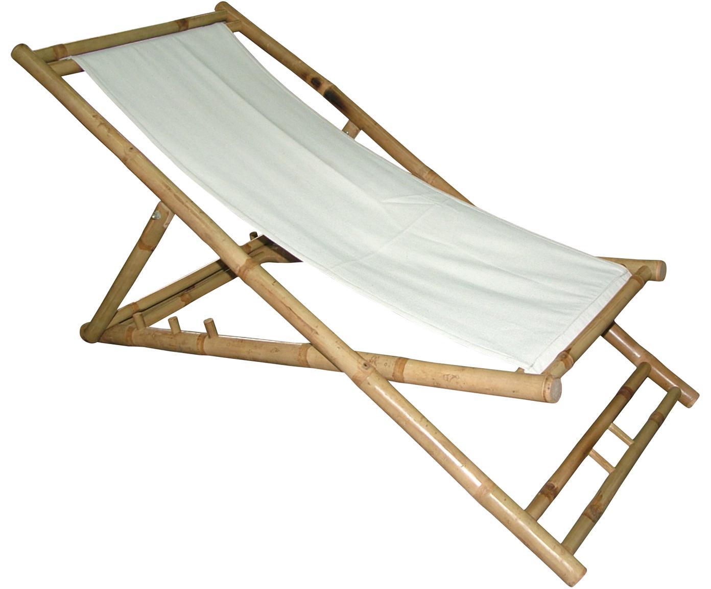 Klappbarer Bambus-Liegestuhl Bammina, Bambus, Textil, Weiss, 80 x 120 cm