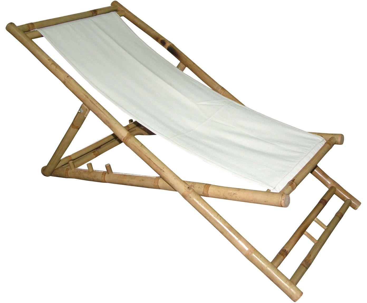 Sedia a sdraio pieghevole in bambù Bammina, Bambù, tessuto, Bianco, Larg. 60 x Alt. 80 cm