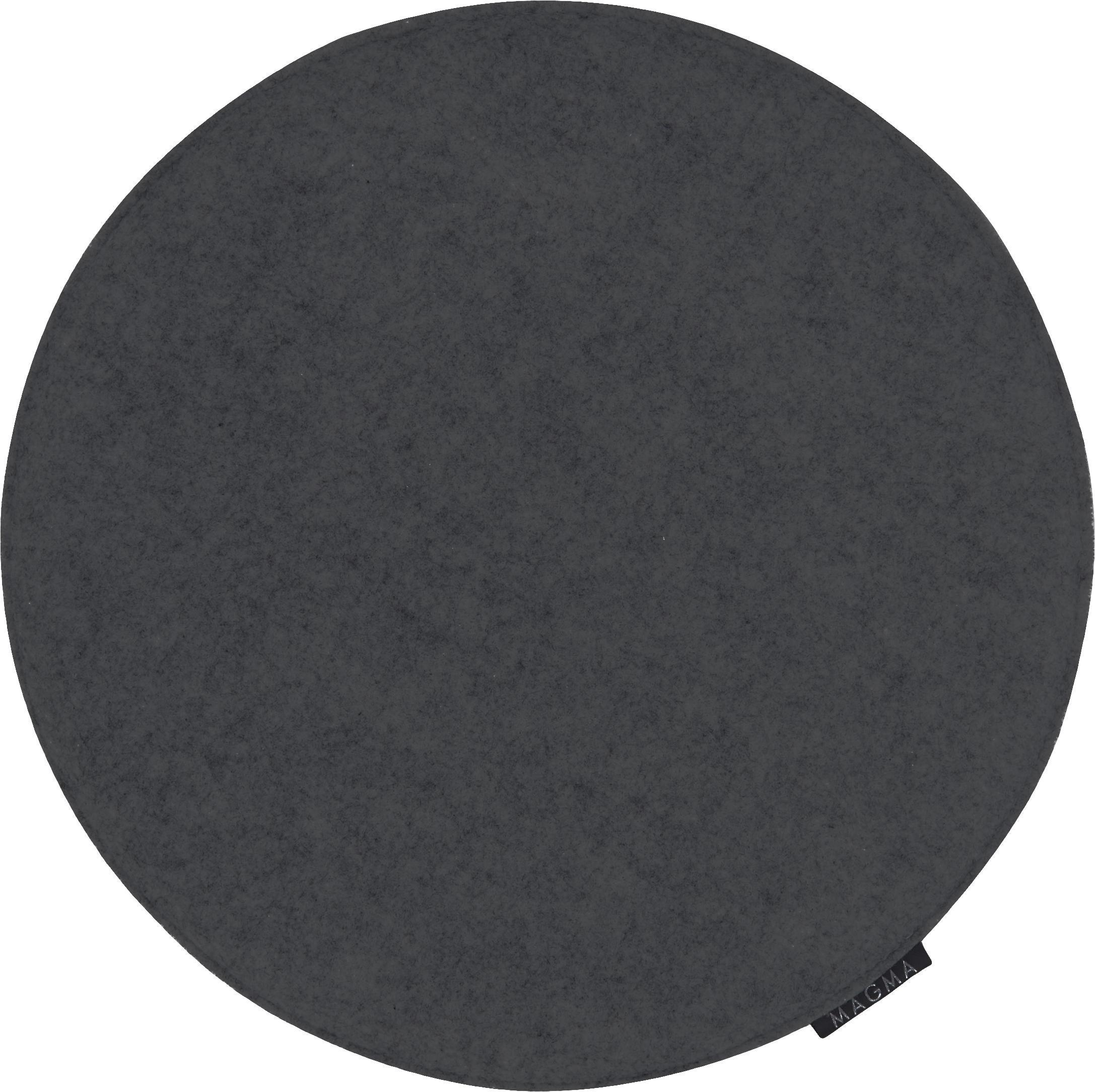 Ronde vilten stoelkussens Avaro, 4 stuks, Antraciet, Ø 35 x H 1 cm