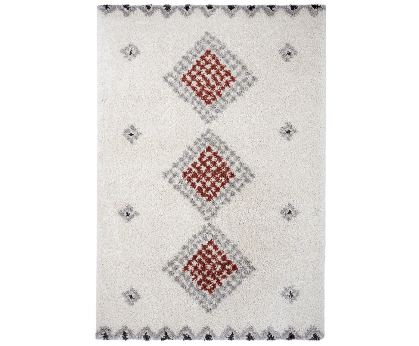 Hochflor-Teppich Cassia mit Ethnomuster, 100% Polypropylen, Cremefarben, Rostbraun, Grau, Schwarz, B 120 x L 170 cm (Größe S)