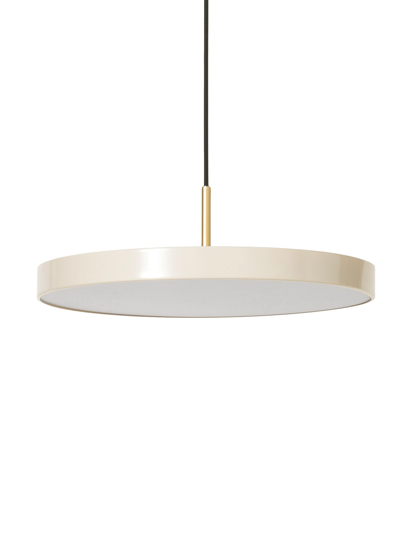 Design LED Pendelleuchte Asteria, Lampenschirm: Aluminium, lackiert, Perlweiß, Goldfarben, Ø 43 x H 15 cm