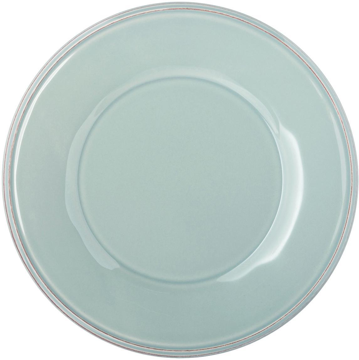 Platos postre Constance, 2uds., estilo rústico, Gres, Azul, turquesa, Ø 24 cm