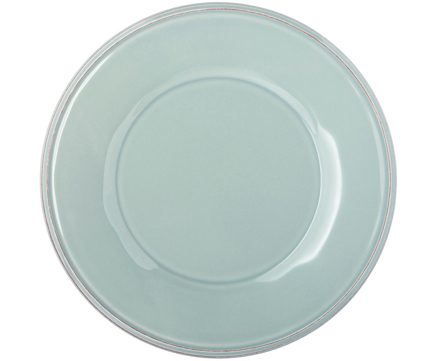 Frühstücksteller Constance in Mint im Landhaus Style, 2 Stück, Steingut, Blau,Türkis, Ø 24 cm