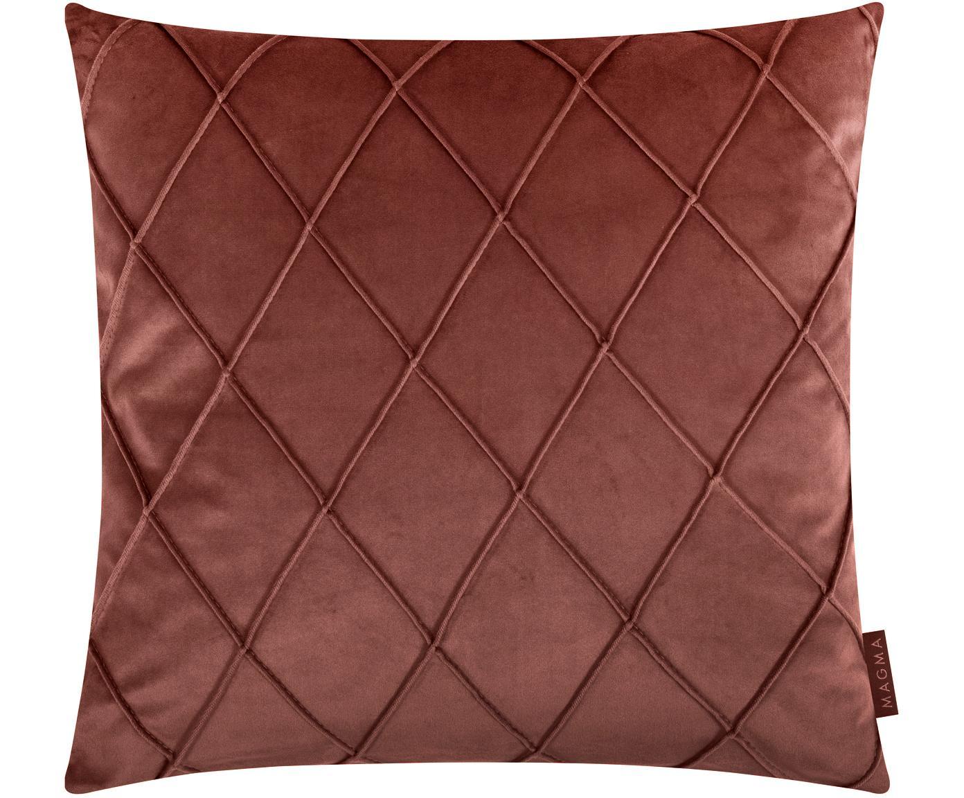Samt-Kissenhülle Nobless mit erhabenem Rautenmuster, 100% Polyestersamt, Terrakottarot, 50 x 50 cm
