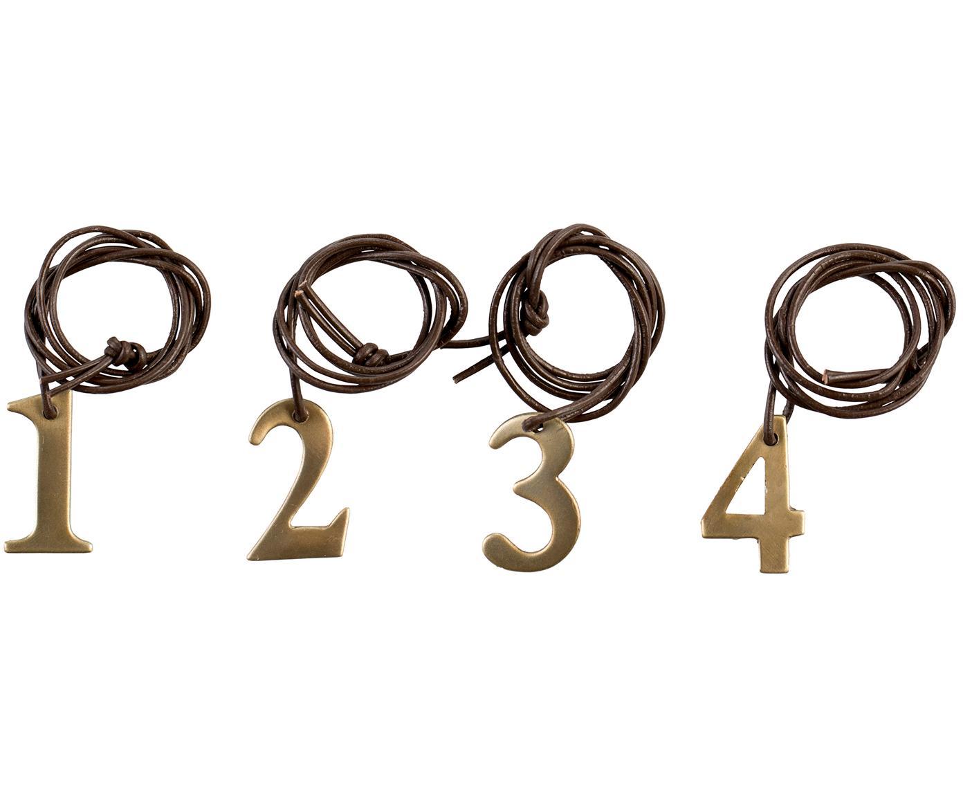 Set de colgantes decorativos Dana Advent Number, 4pzas., Cordón: cuero, Latón, marrón, An 2 x Al 3 cm