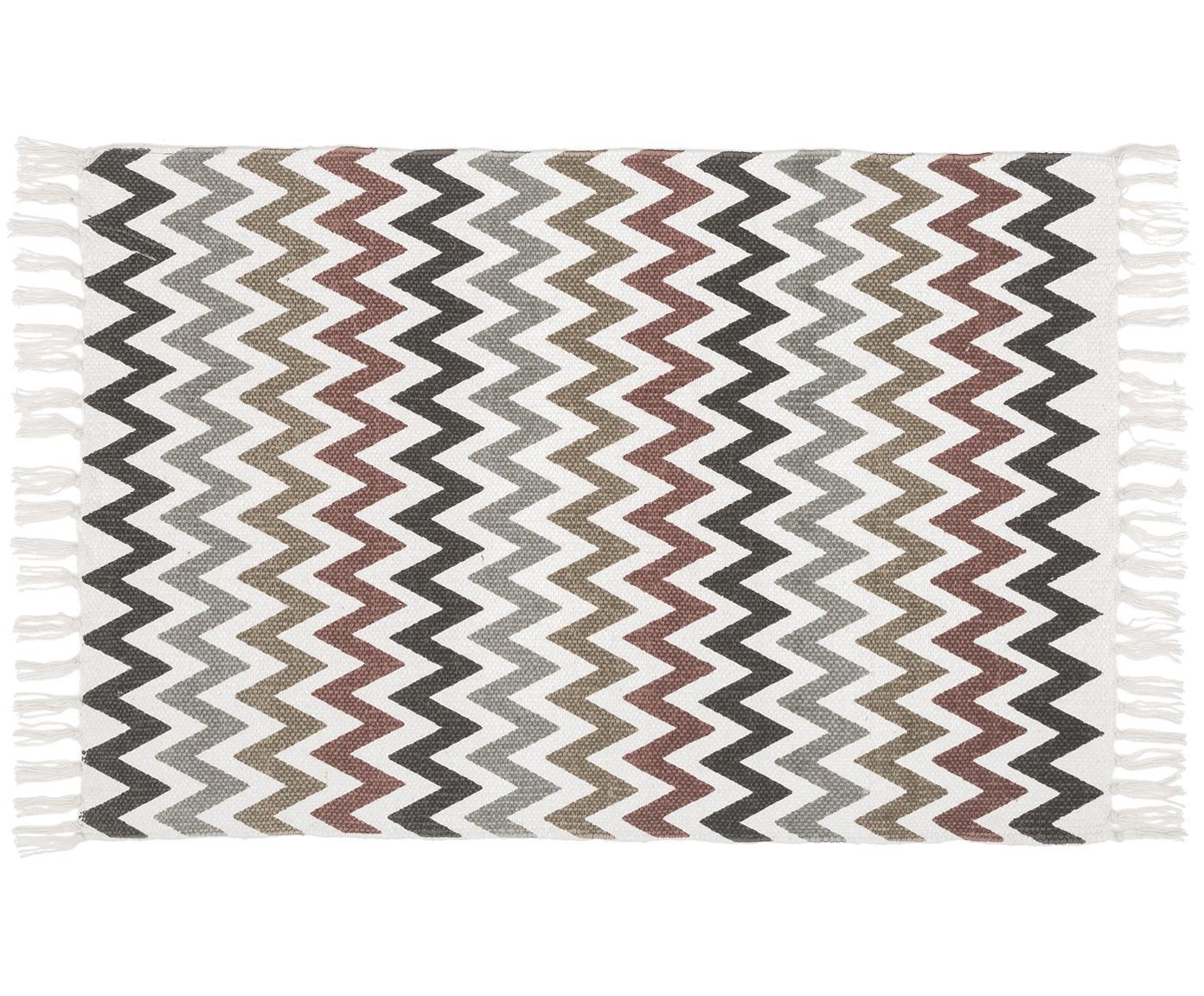 Tappeto bagno con motivo a zigzag Havanna, Cotone, Multicolore, Larg. 60 x Lung. 90 cm