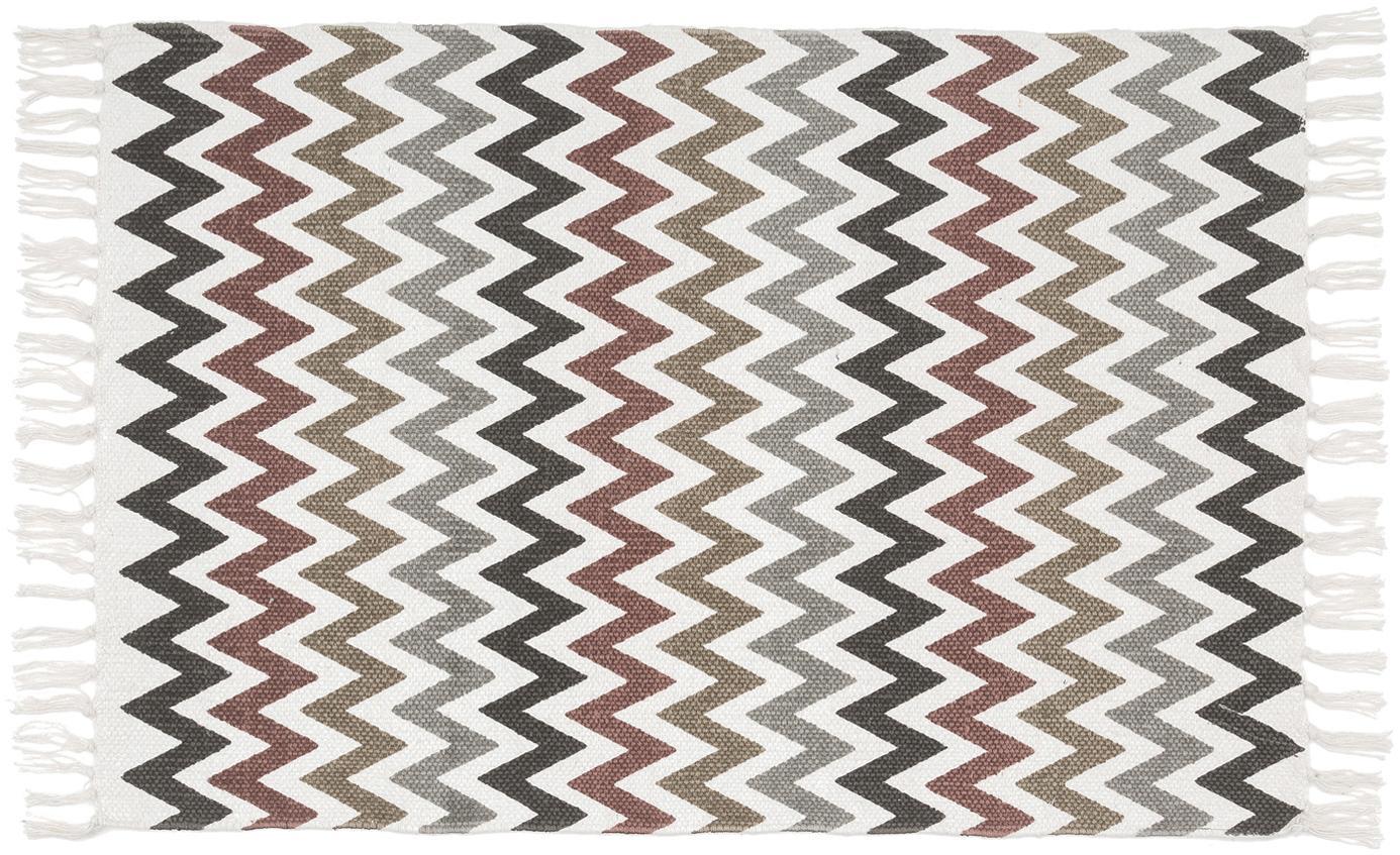 Badmat Havanna met zigzag patroon en franjes, 100% katoen, Multicolour, 60 x 90 cm