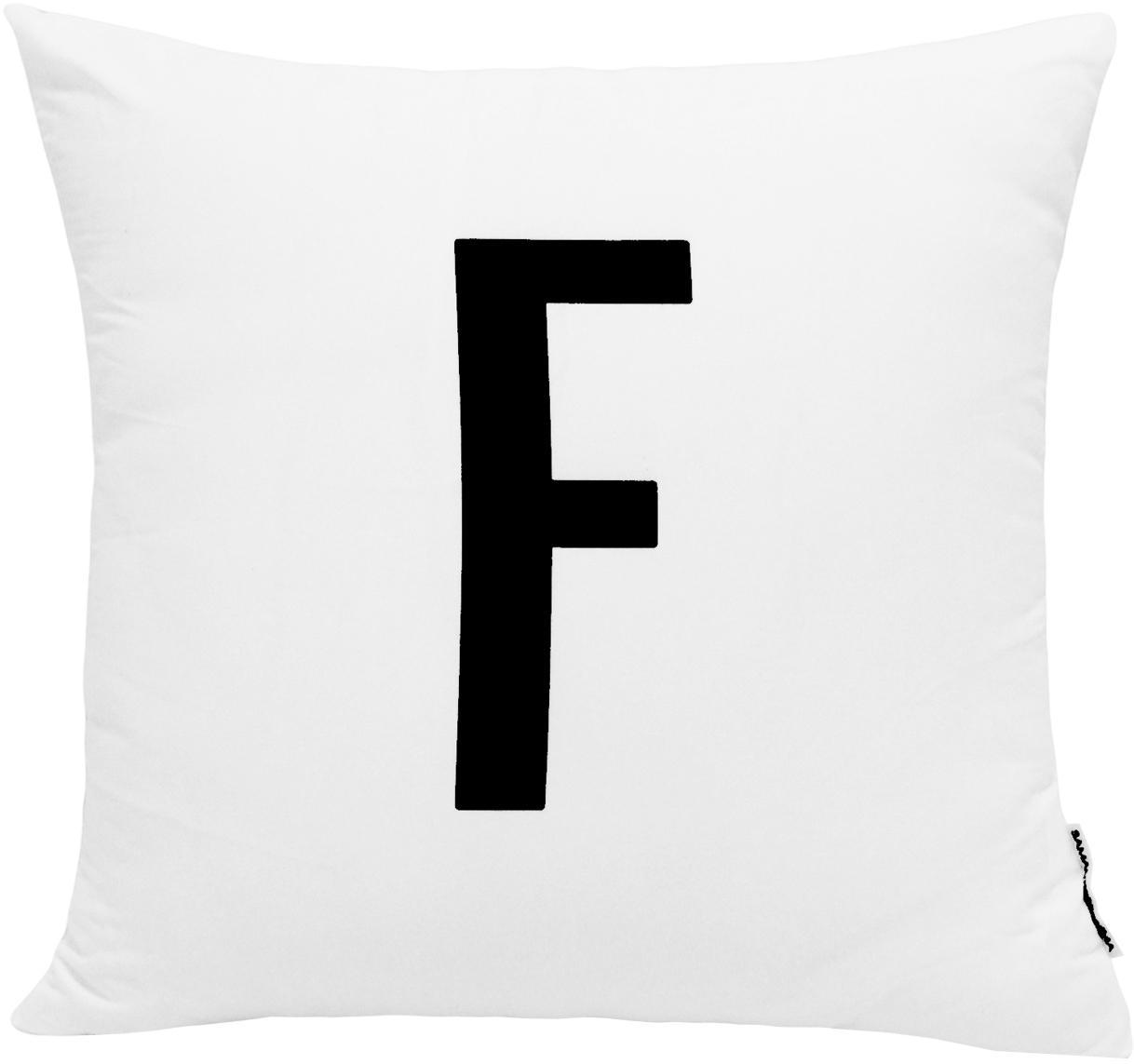 Funda de cojín Alphabet (variantes de A a Z), 100%poliéster, Negro, blanco, Variante F