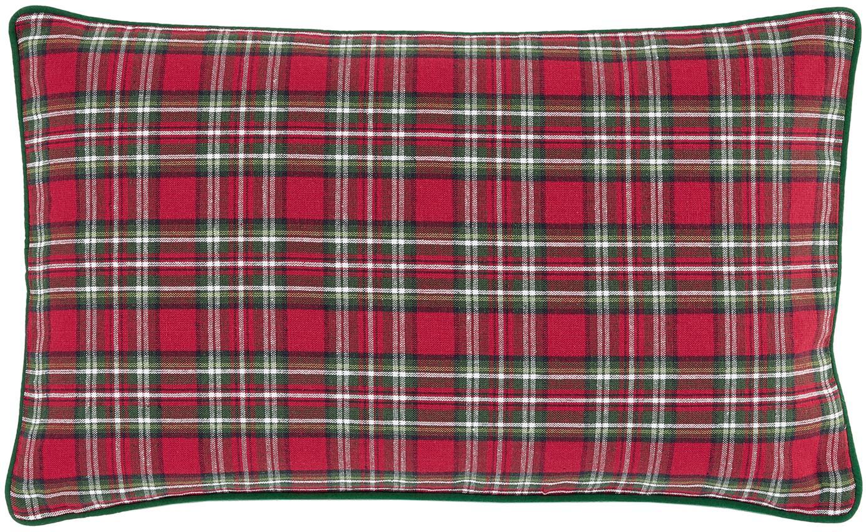 Karierte Kissenhülle Tartan in Rot und Grün, Baumwolle, Rot, Dunkelgrün, 30 x 50 cm