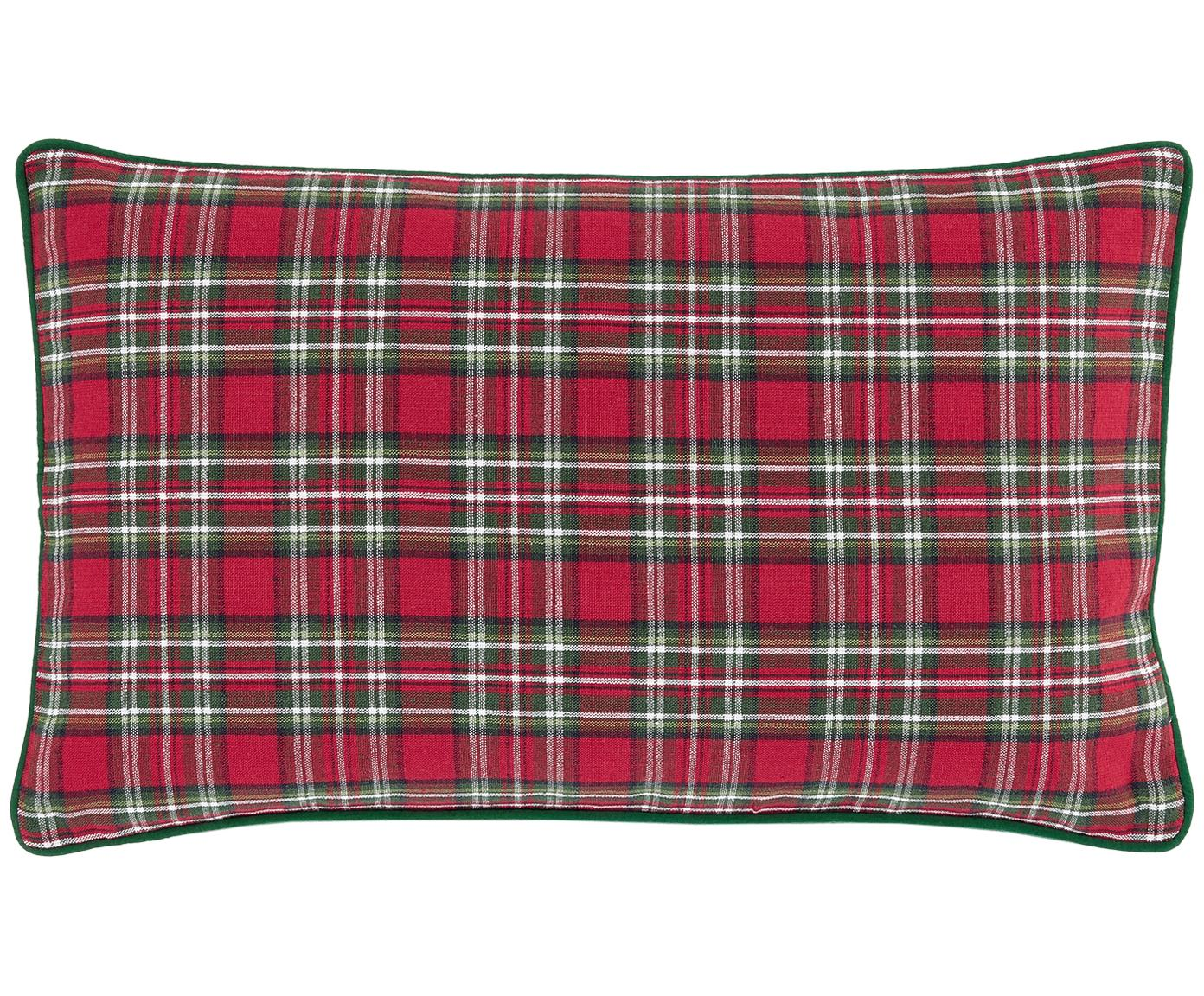 Funda de cojín Tartan, 100%algodón, Rojo, verde oscuro, An 30 x L 50 cm