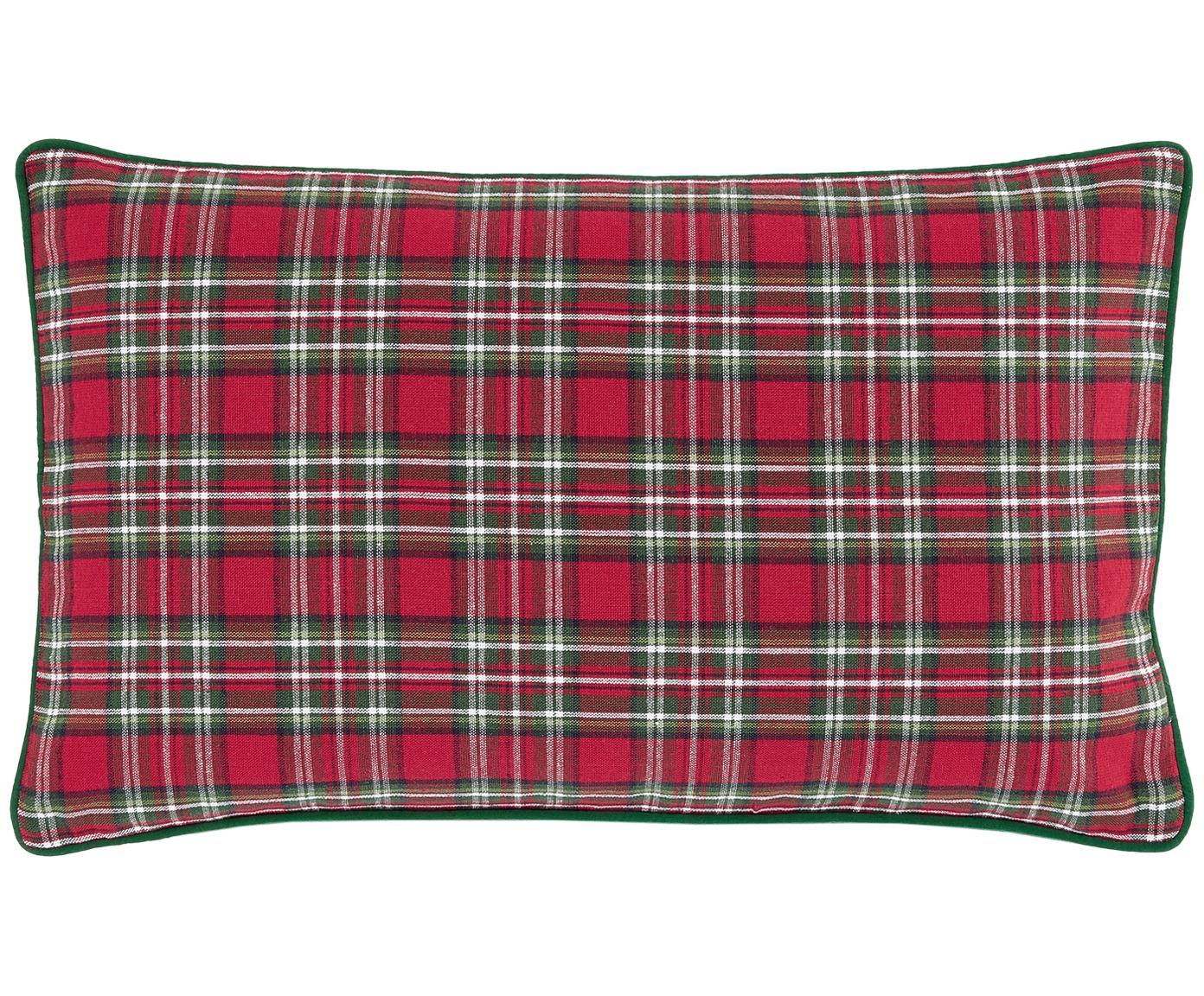 Kussenhoes Tartan, Katoen, Rood, donkergroen, 30 x 50 cm
