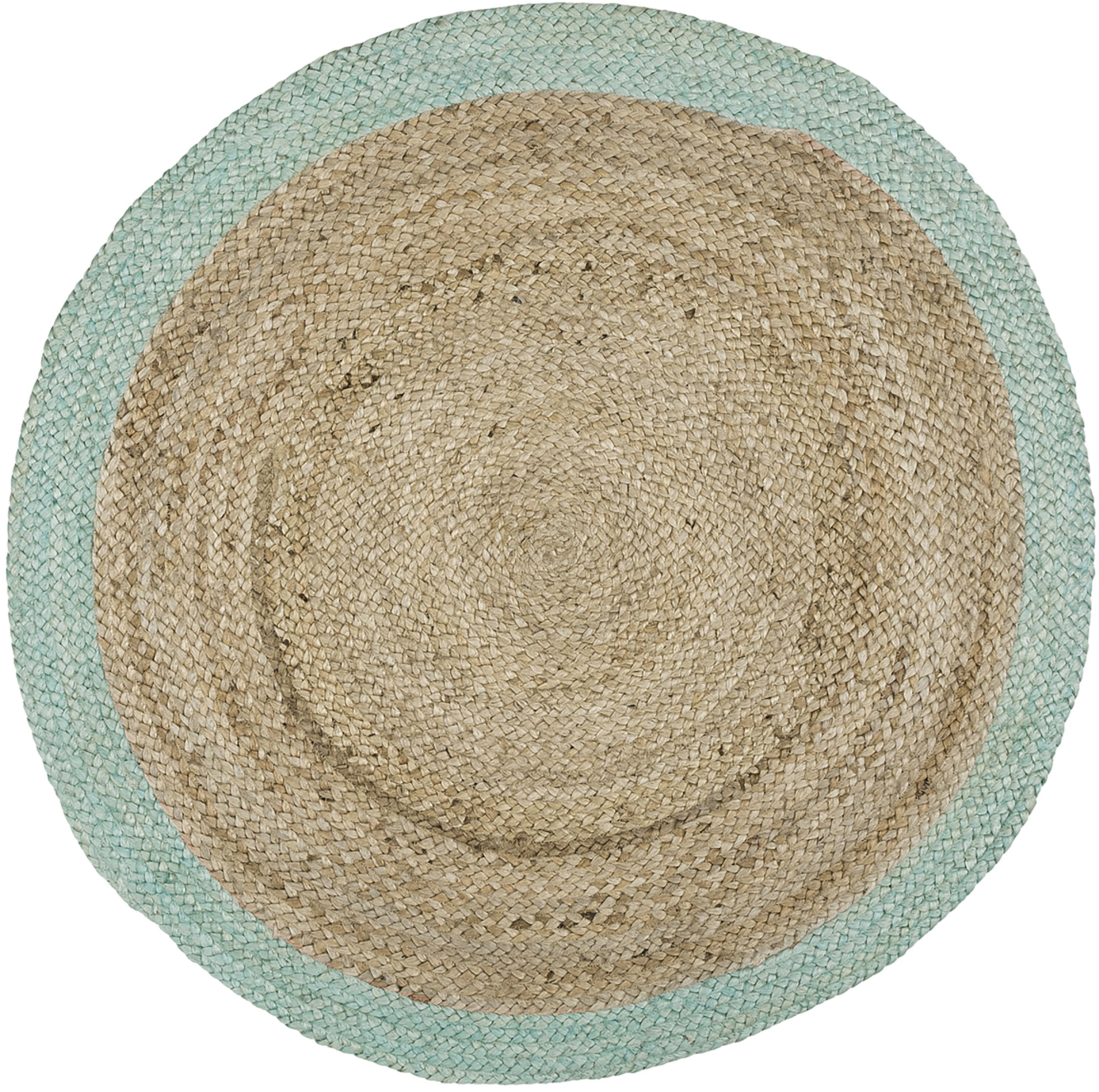 Runder Jute-Teppich Shanta mit mintgrünem Rand, handgefertigt, Jute, Mintgrün, Ø 100 cm (Grösse XS)
