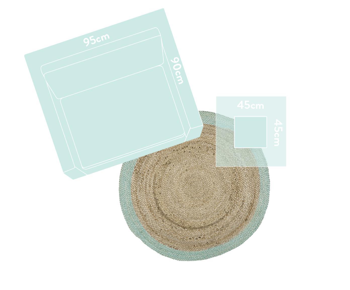 Rond juten vloerkleed Shanta, handgemaakt, Bovenzijde: jute, Onderzijde: jute, Jutekleurig, mintgroen, Ø 100 cm
