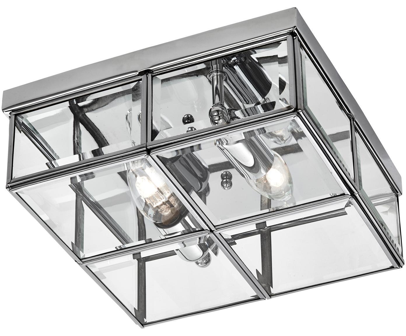 Moderne plafondlamp Ben, Chroomkleurig, transparant, 26 x 10 cm