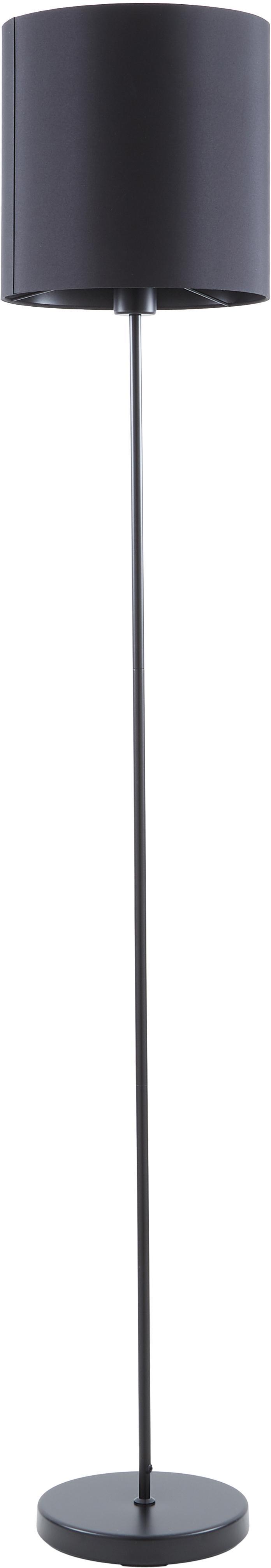 Vloerlamp Harry, Lampenkap: textiel, Lampvoet: gepoedercoat metaal, Zwart, Ø 28 x H 158 cm