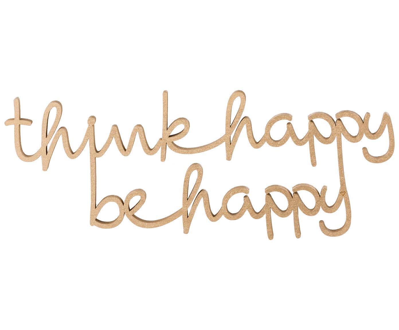 Dekoracja ścienna  XS z lakierowanego drewna Think happy be happy, Lakierowana płyta pliśniowa średniej gęstości (MDF), Odcienie złotego, S 20 x W 8 cm