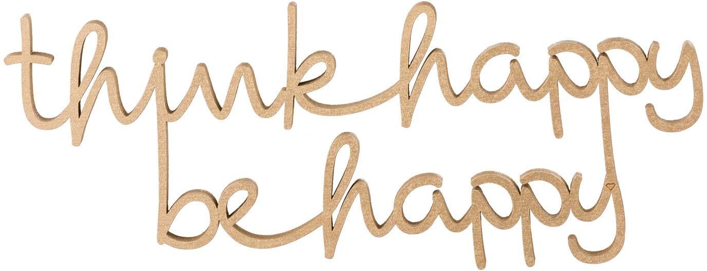XS wandobject Happy van gelakt hout, Gelakt MDF, Goudkleurig, 20 x 8 cm