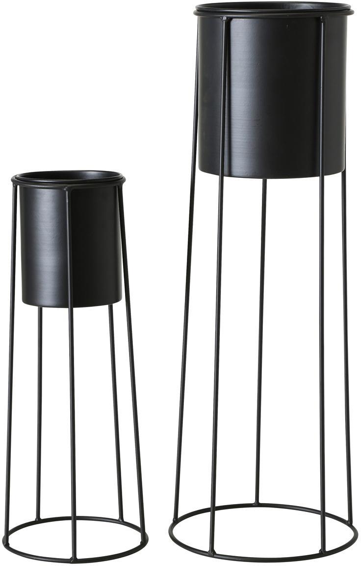 Übertopf-Set Bila aus Metall, 2-tlg., Metall, beschichtet, Schwarz, Sondergrößen