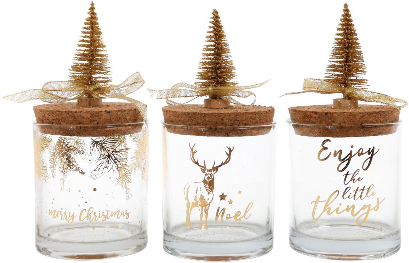 Set de tarros Noel, 3pzas., Transparente, multicolor, Ø 9 x Al 10 cm