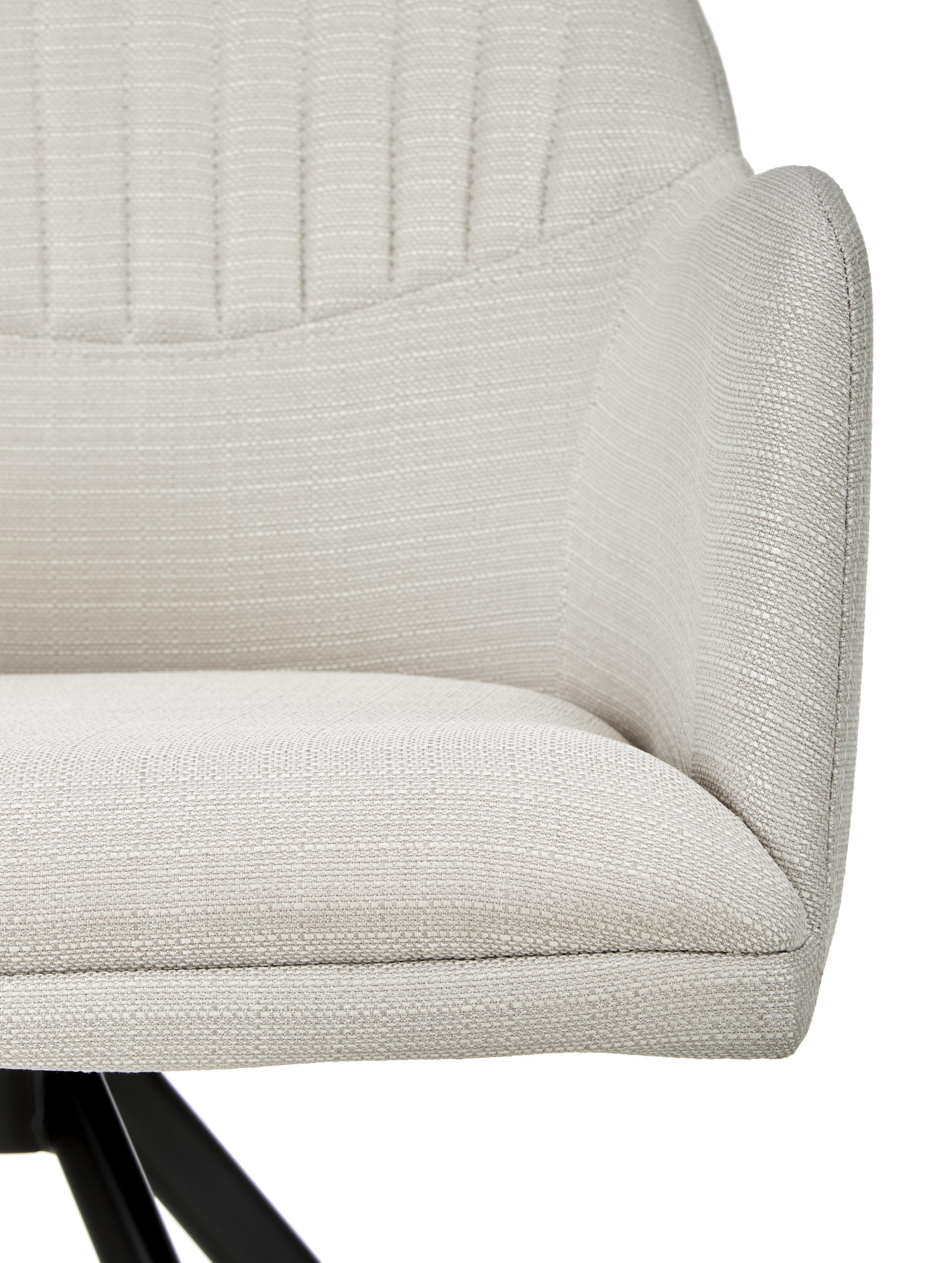 Silla giratoria con reposabrazos tapizada Lola, Tapizado: poliéster, Patas: metal con pintura en polv, Blanco crema, An 52 cm x F 57 cm