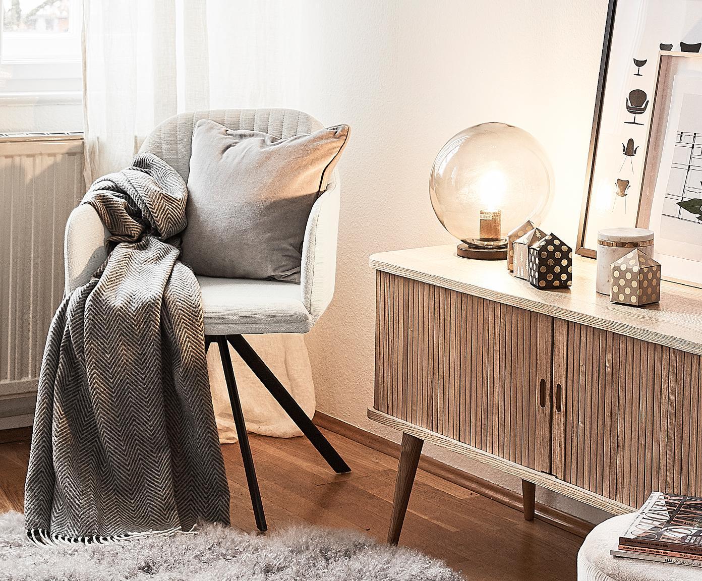 Polster-Drehstuhl Lola mit Armlehne, Bezug: Polyester, Füße: Metall, pulverbeschichtet, Webstoff Cremeweiß, B 55 x T 52 cm
