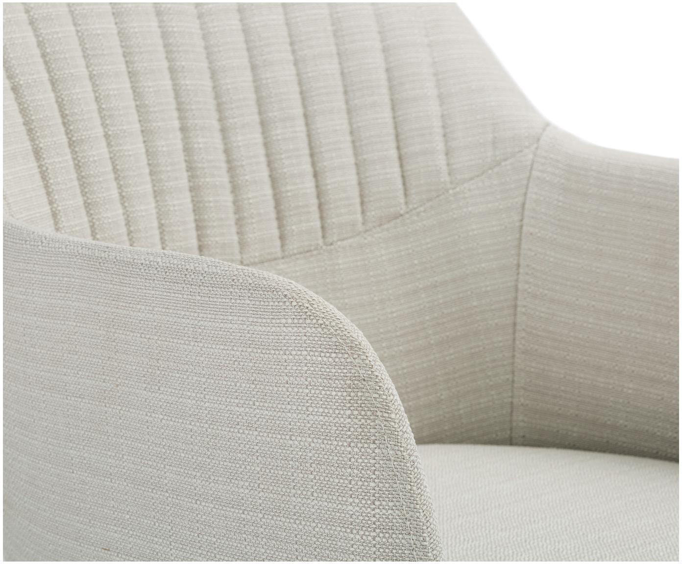 Tapicerowane krzesło obrotowe z podłokietnikami Lola, Tapicerka: poliester, Nogi: metal malowany proszkowo, Kremowobiały, S 55 x G 52 cm