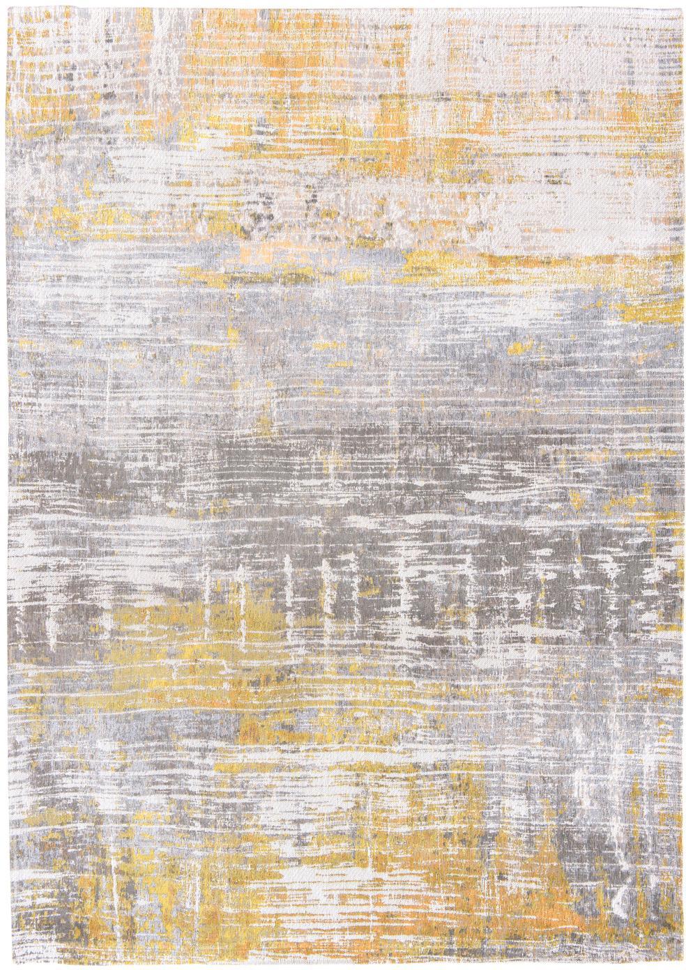 Designteppich Streaks in Grau/Gelb, Vorderseite: 85%Baumwolle, 15%hochgl, Webart: Jacquard, Rückseite: Baumwollgemisch, latexbes, Gelb, Grau, Weiß, B 230 x L 330 cm (Größe L)