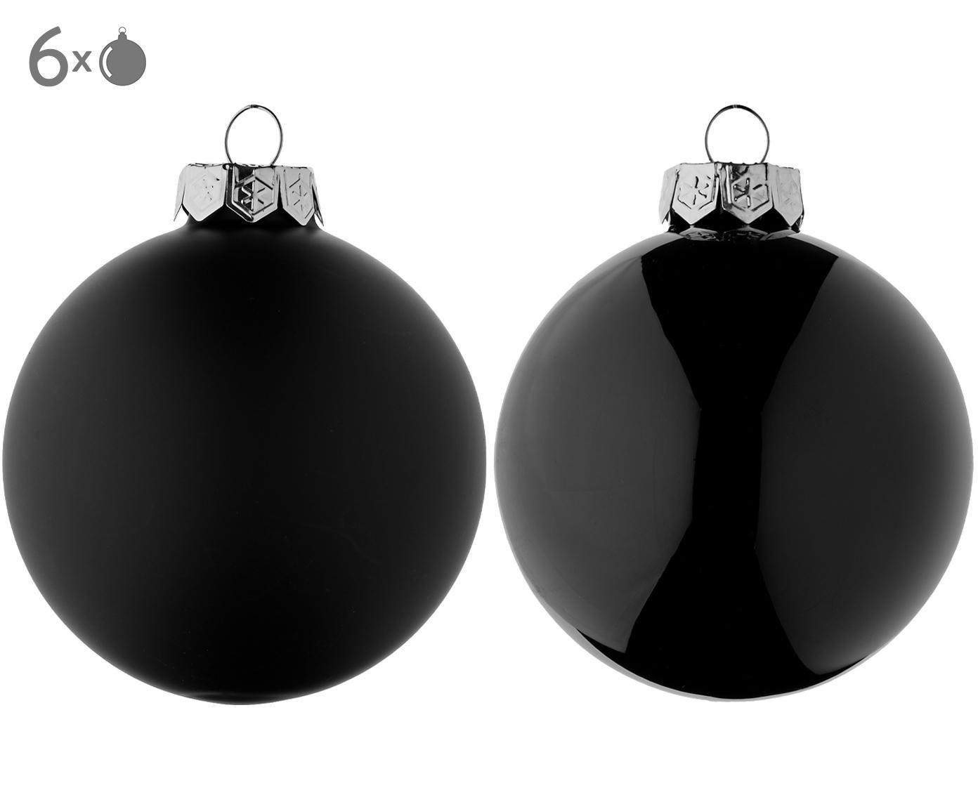 Kerstballenset Evergreen, 6-delig, Zwart, Ø 8 cm