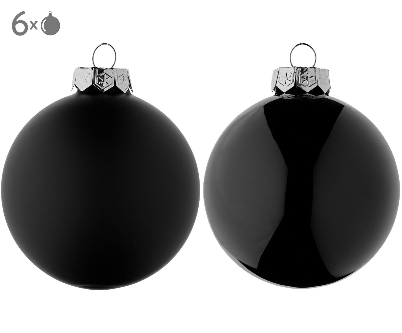 Weihnachtskugel-Set Evergreen, 6-tlg., Schwarz, Ø 8 cm