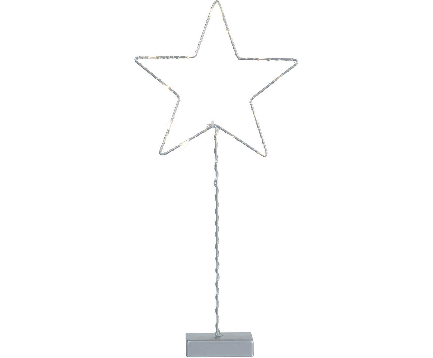 Objeto luminoso LED Star, funciona a pilas, Cable: plástico, Gris, An 19 x Al 43 cm