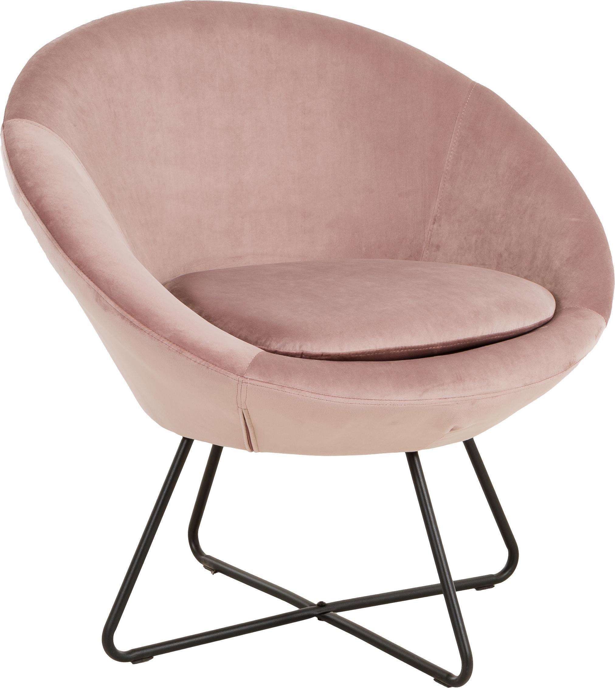Fluwelen fauteuil Center in oudroze, Bekleding: polyester fluweel, Poten: ruw gepoedercoat metaal, Fluweel oudroze, B 82 x D 73 cm