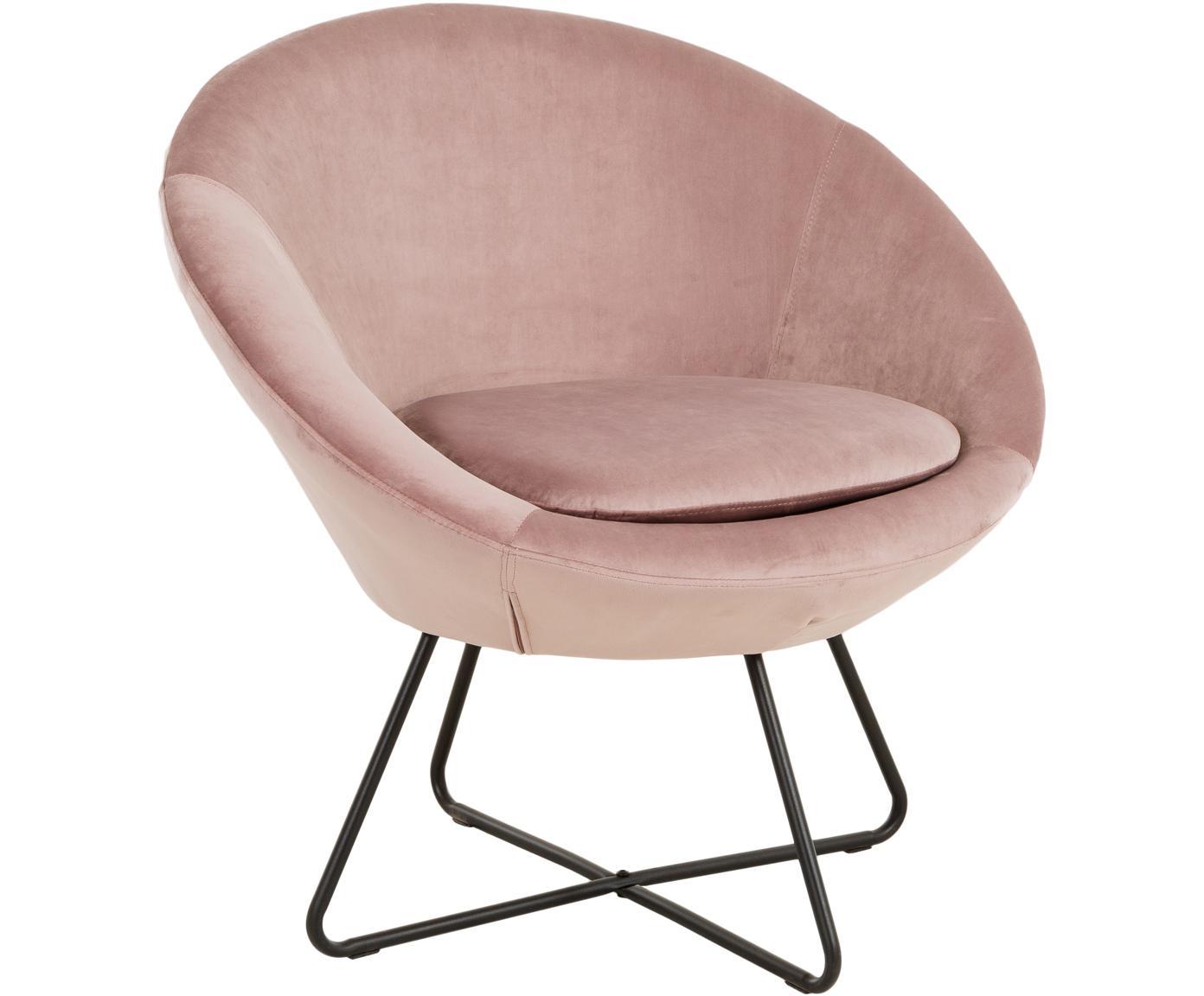 Fotel wypoczynkowy z aksamitu Center, Tapicerka: aksamit poliestrowy 2500, Nogi: metal, chropowaty, malowa, Aksamitny brudny różowy, S 82 x G 73 cm