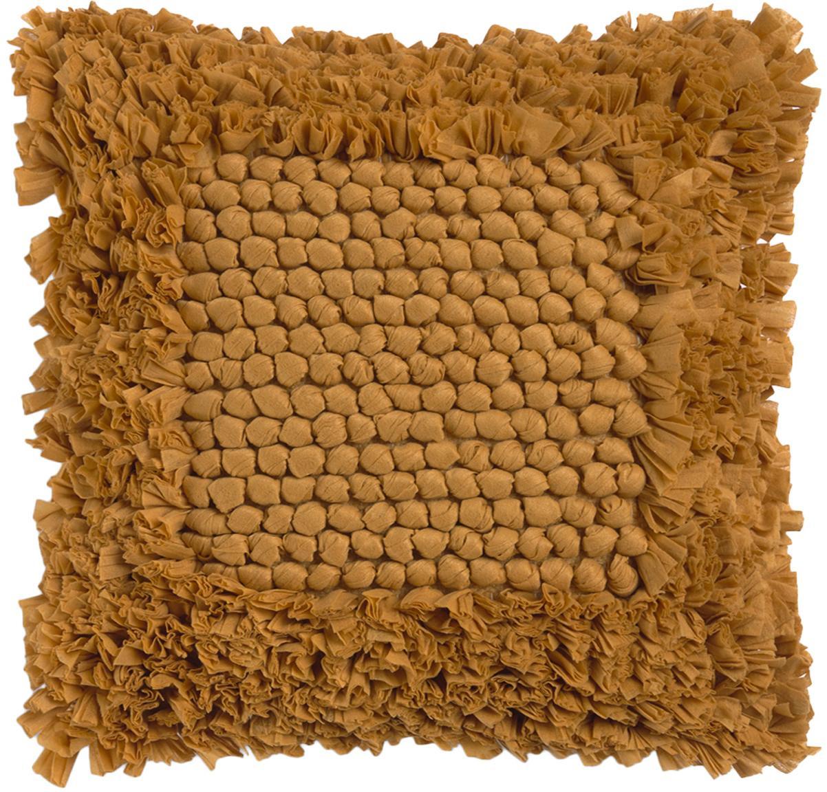 Funda de cojín texturizada Aqia, 50%algodón, 50%poliéster, Mostaza, An 45 x L 45 cm