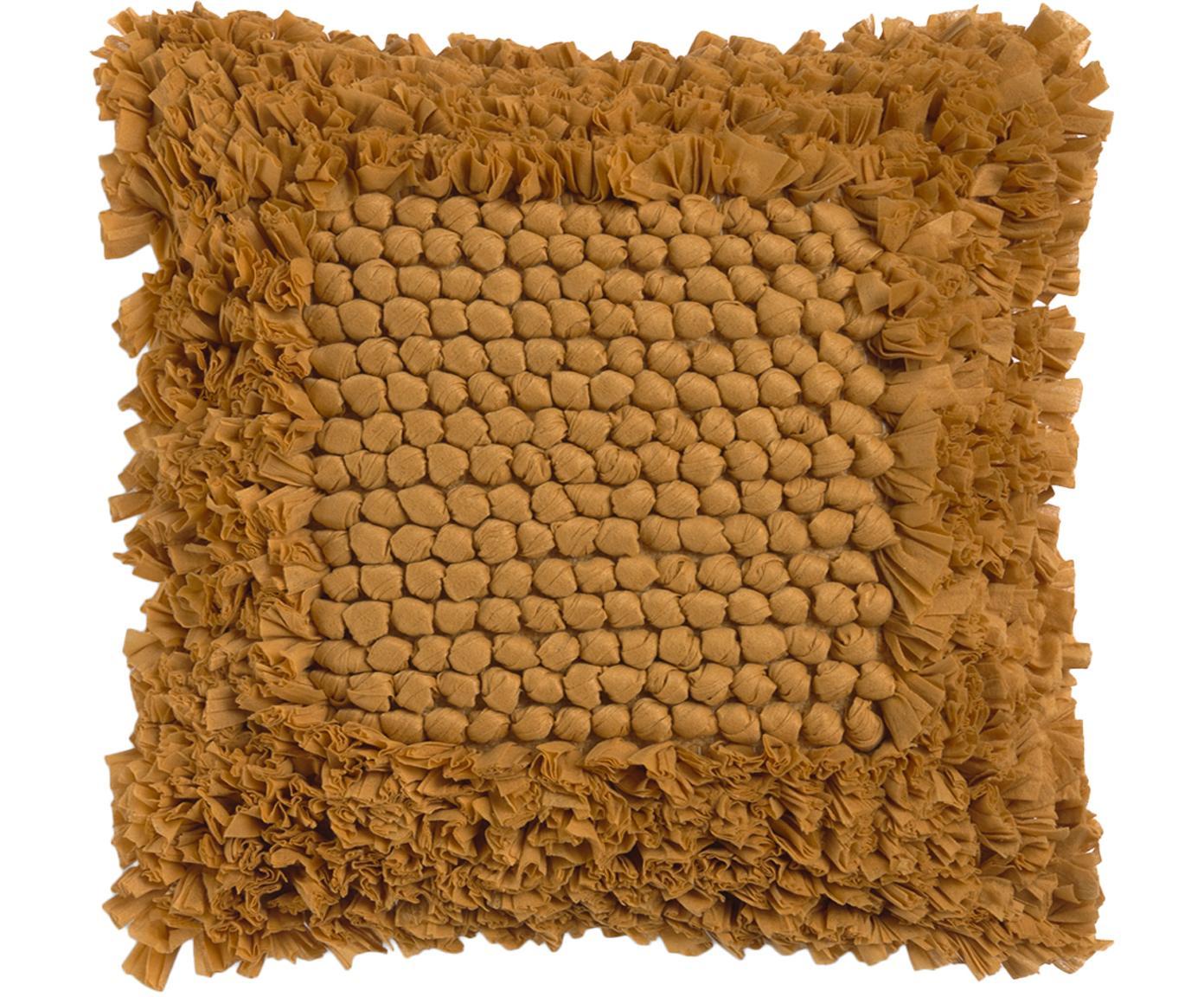 Kussenhoes Aqia met gestructureerde oppervlak, 50% katoen 50% polyester, Mosterdgeel, 45 x 45 cm