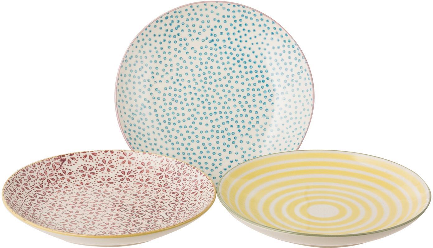 Platos de pan artesanal Holly, 3uds., Gres, Multicolor, Ø 16 cm