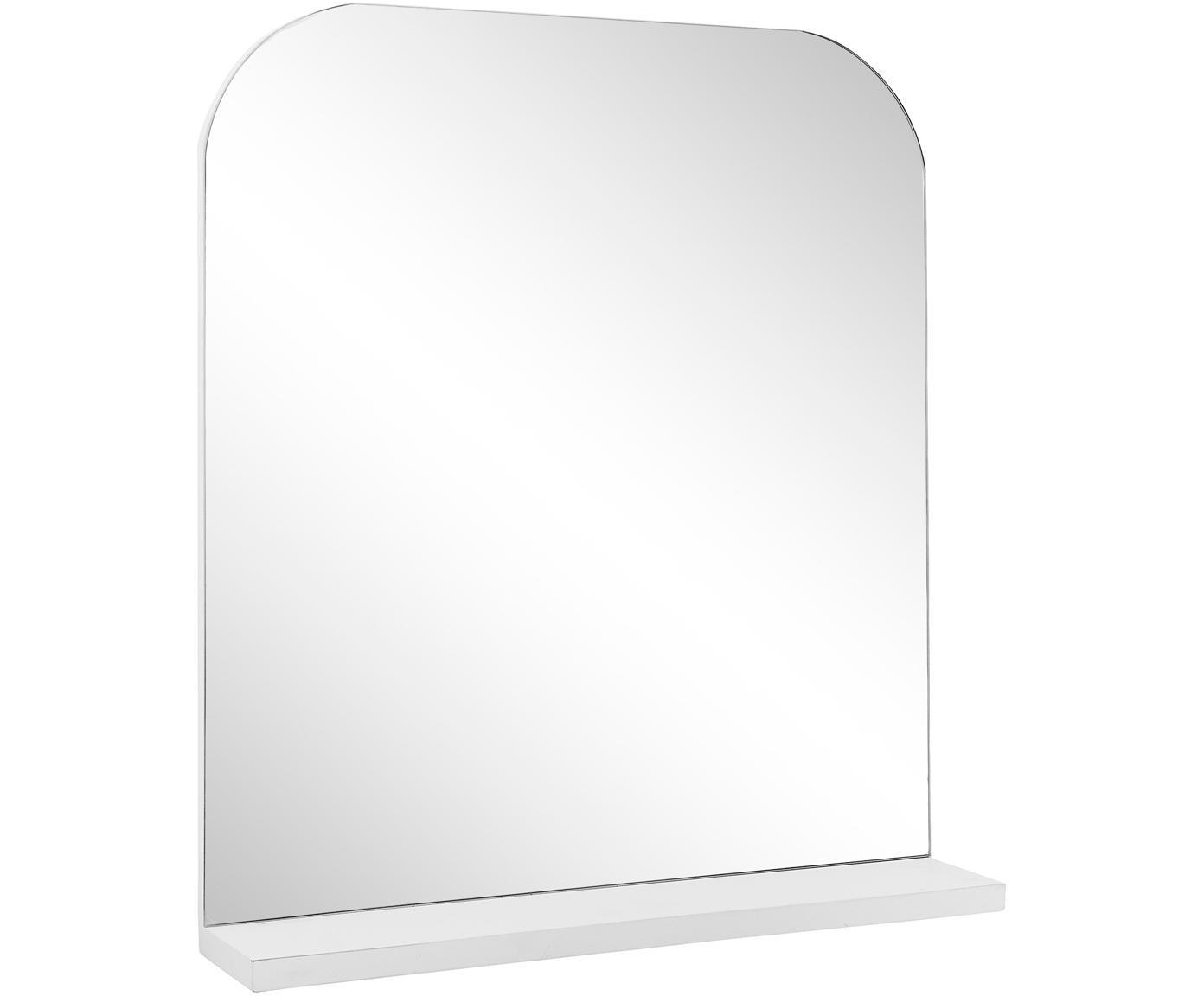 Wandspiegel Pina mit weisser Ablagefläche, Ablagefläche: Holz, Spiegelfläche: Spiegelglas, Weiss, 55 x 63 cm