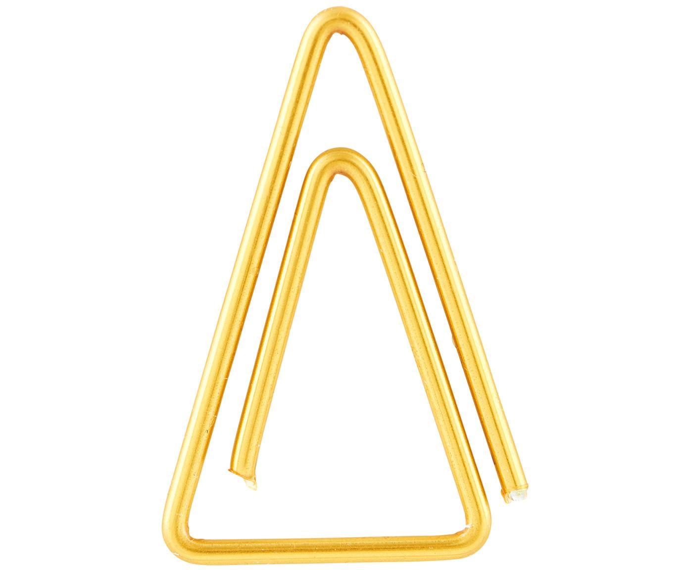 Paperclips Triangle, 20 stuks, Vermessingt edelstaal, Messingkleurig, L 3 cm