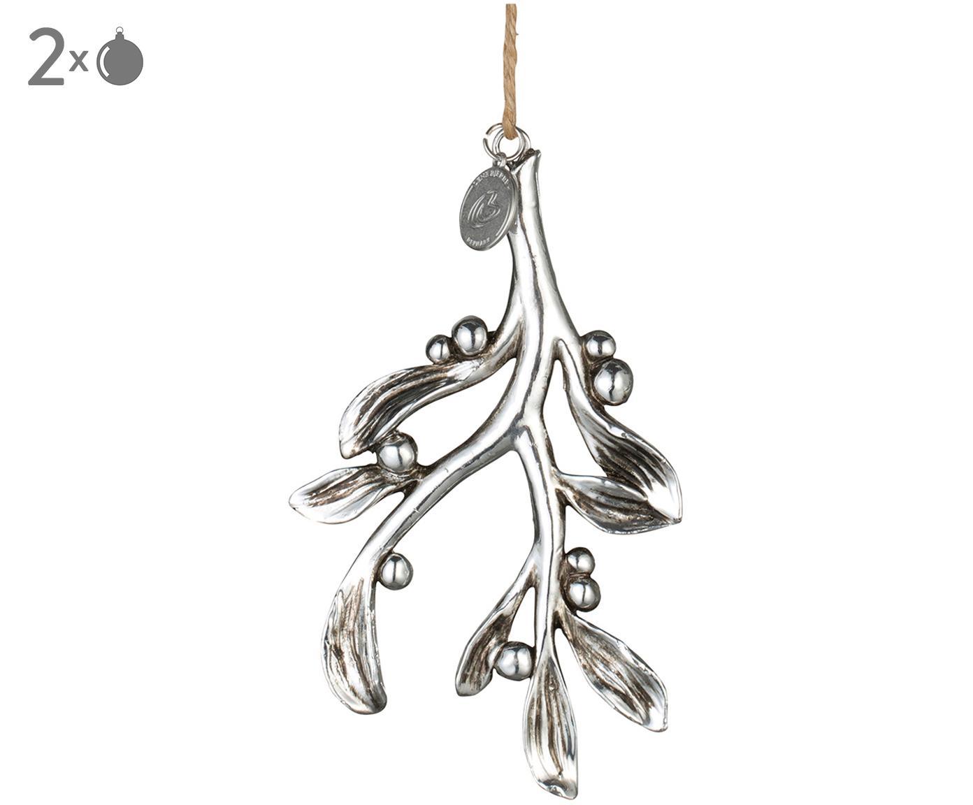 Decorazioni pendenti Mistletoe 2 pz, Cinturino: iuta, Argento, L 7 x A 11 cm