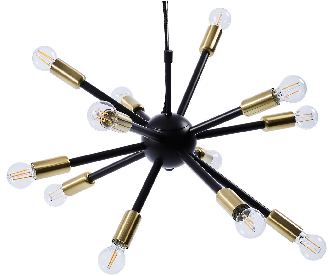 Lámpara de techo Spike, Anclaje: metal recubierto, Pantalla: metal con pintura en polv, Cable: cubierto en tela, Negro, dorado, Ø 50 cm