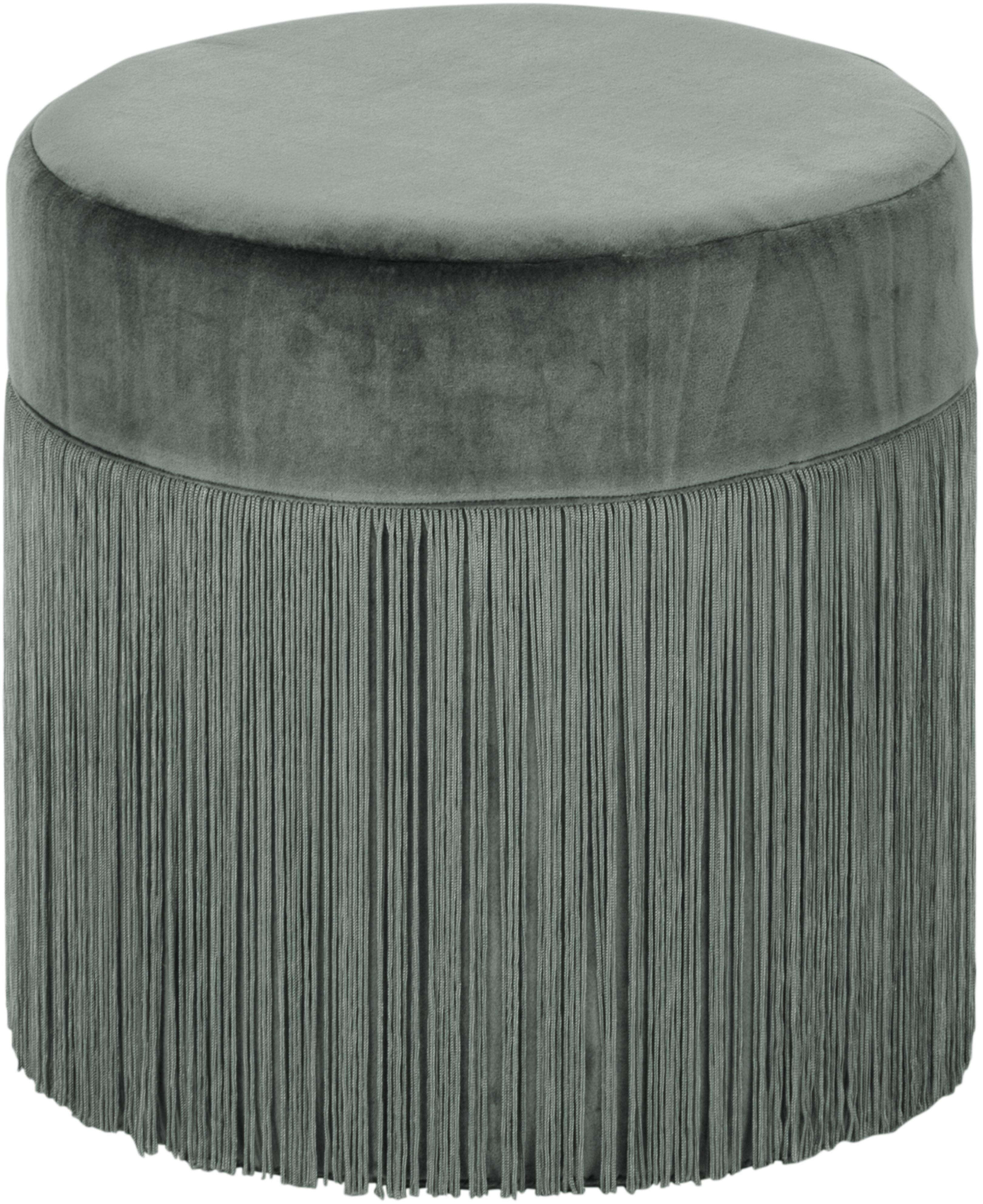 Puf con flecos Adriana, Tapizado: terciopelo de algodón, Flecos: viscosa, Verde salvia, Ø 40 x Al 40 cm