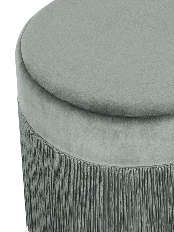Fransen-Hocker Adriana, Bezug: Baumwollsamt, Fransen: Viskose, Unterseite: Baumwolle, Salbeigrün, Ø 40 x H 40 cm