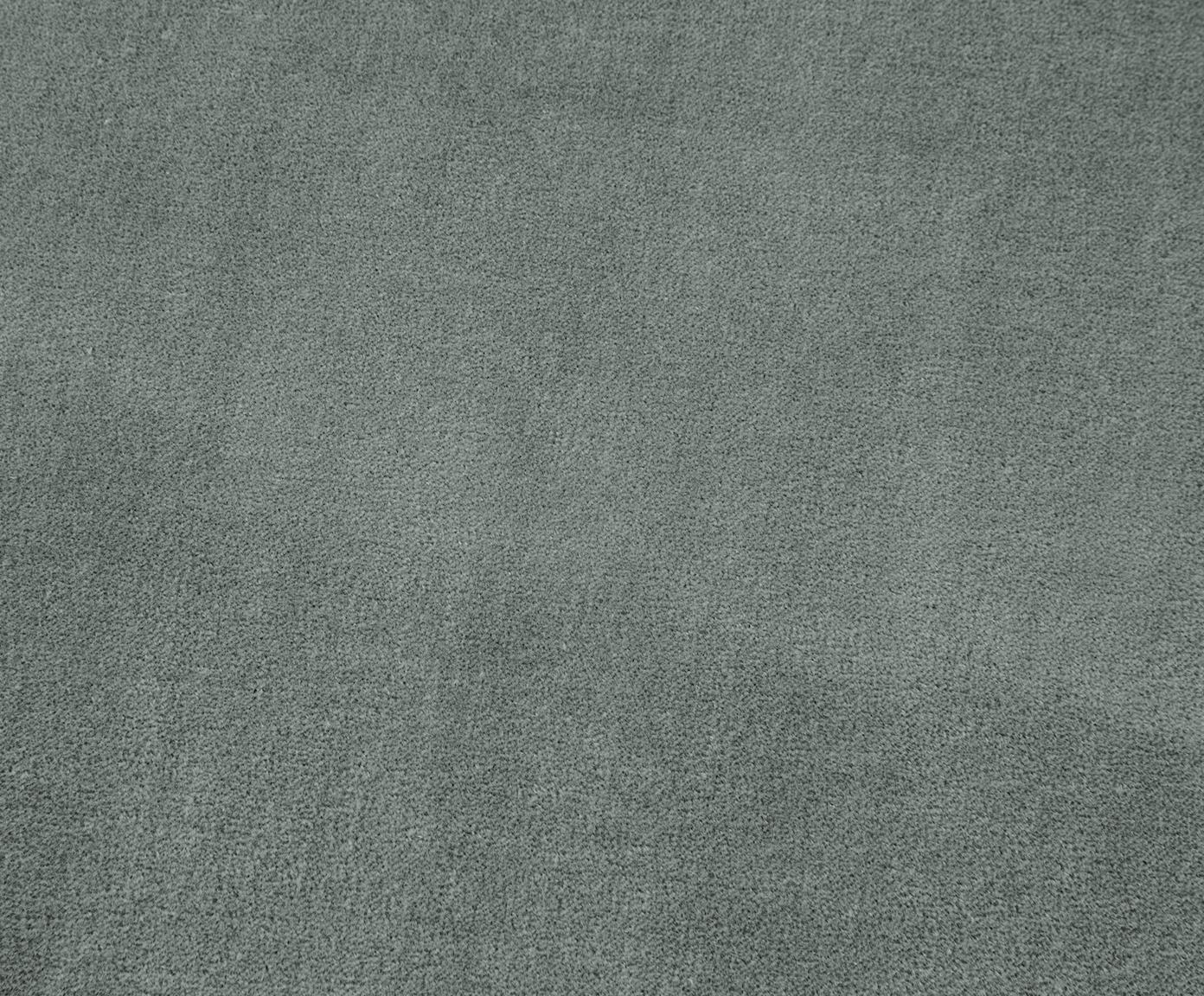 Poef met franjes Adriana, Bekleding: katoen fluweel, Franjes: viscose, Onderzijde: katoen, Saliegroen, ∅ 40 x H 40 cm